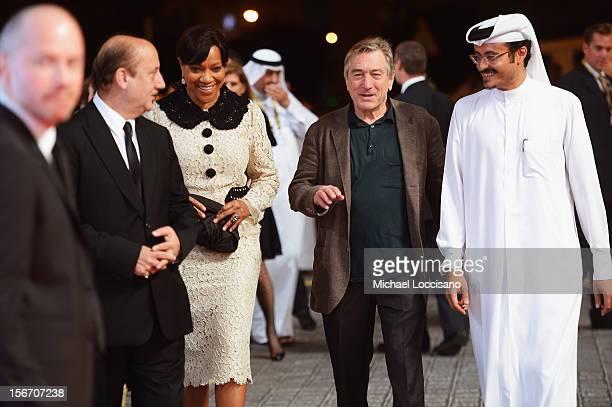 Actor Anupam Kher Grace Hightower Tribeca Film Festival cofounder Robert De Niro and Doha Film Institute CEO Abdulaziz Bin Khalid AlKhater attend the...