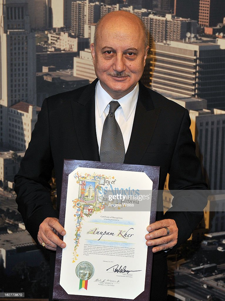 """Silver Linings Playbook"" Actor Anupam Kher Receives Los Angeles City Proclamation"