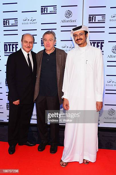 Actor Anupam Kher Tribeca Film Festival cofounder Robert De Niro and Doha Film Institute CEO Abdulaziz Bin Khalid AlKhater attend the 'Silver Linings...