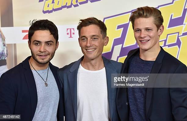 Actor Aram Arami Volker Bruch and Max von der Groeben attends the 'Fack ju Goehte 2' Munich Premiere at Mathaeser Filmpalast on September 7 2015 in...