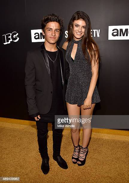 Actor Aramis Knight and Kelsey Calemine attend the AMC BBC America IFC And SundanceTV Emmy After Party at BOA Steakhouse on September 20 2015 in West...