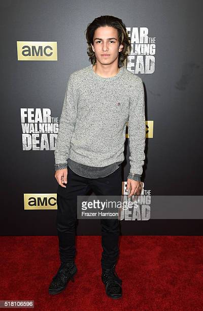 Actor Aramis Knight arrives at the Premiere Of AMC's 'Fear The Walking Dead' Season 2 at Cinemark Playa Vista on March 29 2016 in Los Angeles...