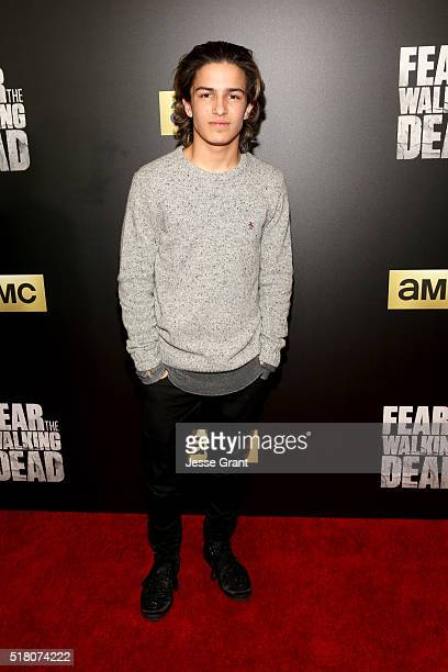 Actor Aramis Knight attends the season 2 premiere of 'Fear the Walking Dead' at Cinemark Playa Vista on March 29 2016 in Los Angeles California