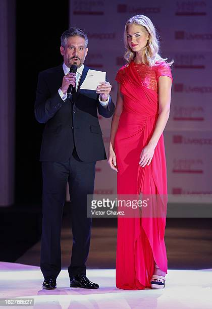 Actor Arath de la Torre interview top model Erin Heatherton during the end of the Liverpool Fashion Fest Spring/Summer 2013 fashion show on February...