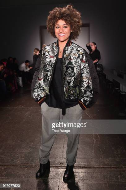 Actor Ariana DeBose attends the Vivi Zubedi front row during New York Fashion Week The Shows at Industria Studios on February 11 2018 in New York City