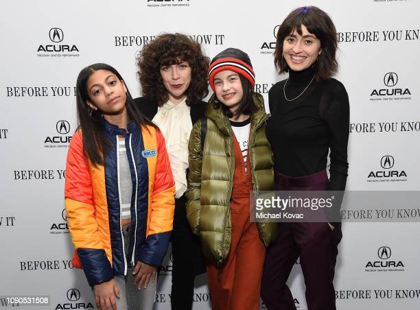 Actor Arica Himmel filmmaker Jen Tullock actor Oona Yaffe and filmmaker Hannah Pearl Utt attend the 'Before You Know It' party at Acura Festival...