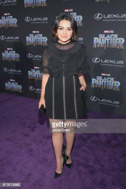 Actor Ariela Barer at the Los Angeles World Premiere of Marvel Studios' BLACK PANTHER at Dolby Theatre on January 29 2018 in Hollywood California