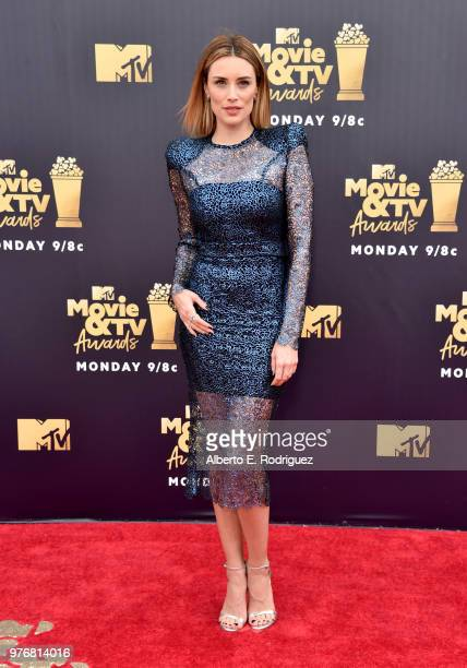 Actor Arielle Vandenberg attends the 2018 MTV Movie And TV Awards at Barker Hangar on June 16 2018 in Santa Monica California