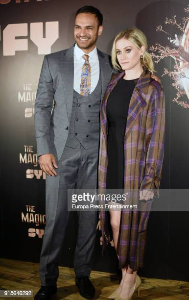 Actor Arjun Gupta and actress Olivia Taylor Dudley attend The Magicians Premiere in Madrid on February 7 2018 in Madrid Spain