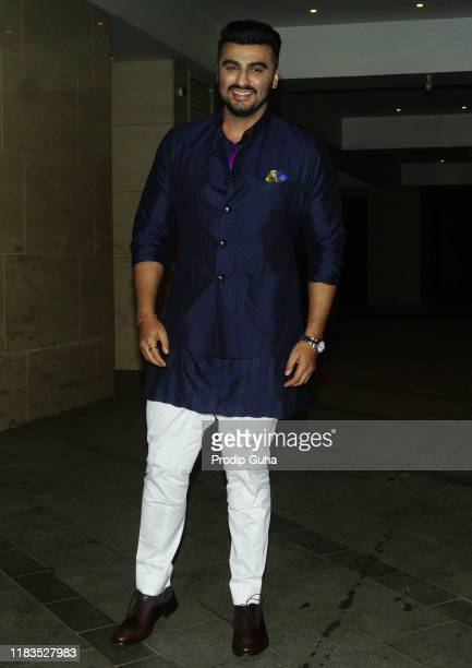 Actor Arjun Kapoor attend the Diwali Bash hosted by Actor Jackky Bhagnani on October 25 2019 in Mumbai India