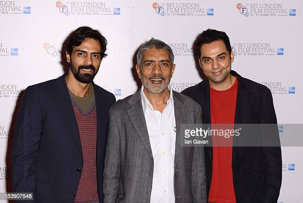 Actor Arjun Rampal director Prakash Jha and actor Abhay Deol attend the 'Chakravyuh' photocall during the 56th BFI London Film Festival at the Empire...