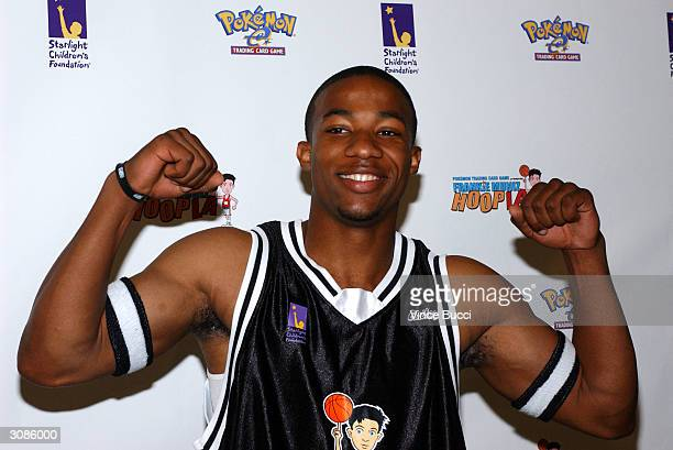 Actor Arlen Escarpeta attends the Frankie Muniz HoopLA celebrity charity basketball game presented by Pokemon Trading Card Games on March 14 2004 in...