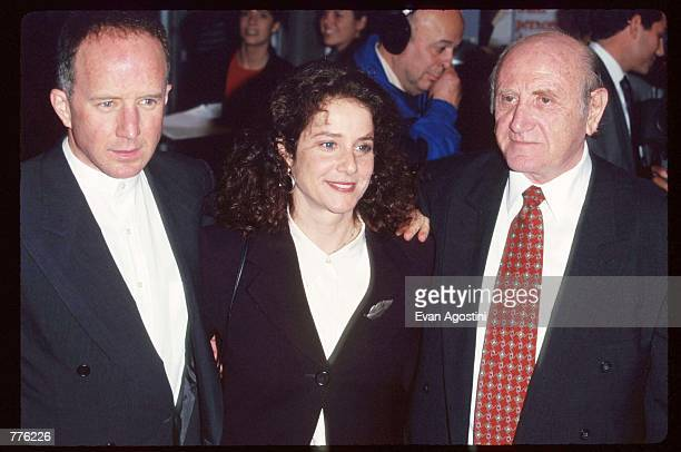 """Actor Arliss Howard and his wife Debra Winger stand with retired Mossad agent Peter Malkin at the premiere of the television movie """"The Man Who..."""