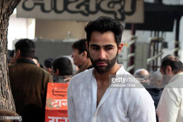 Actor Armaan Jain at the funeral of Ritu Nanda at Lodhi Road Crematorium on January 14 2020 in New Delhi India Ritu Nanda late actor Raj Kapoor's...