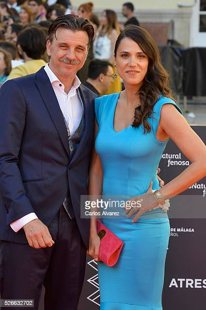 Actor Armando del Rio and actress Laia Alemany attend Nuestros Amantes premiere at the Cervantes Teather during the 19th Malaga Film Festival on...