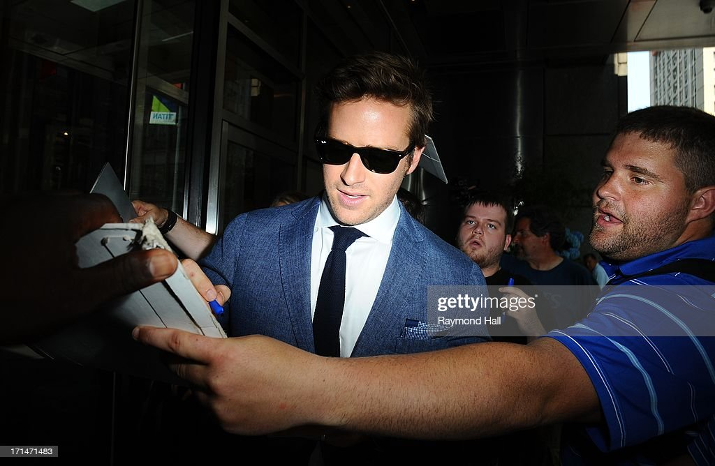 Actor Armie Hamme is seen outside is Hotel on June 24, 2013 in New York City.