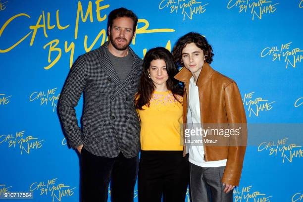 Actor Armie Hammer Actress Esther Garrel and Actor Timothee Chalamet attend 'Call Me By Your Name' Paris Premiere at UGC Cine Cite des Halles on...