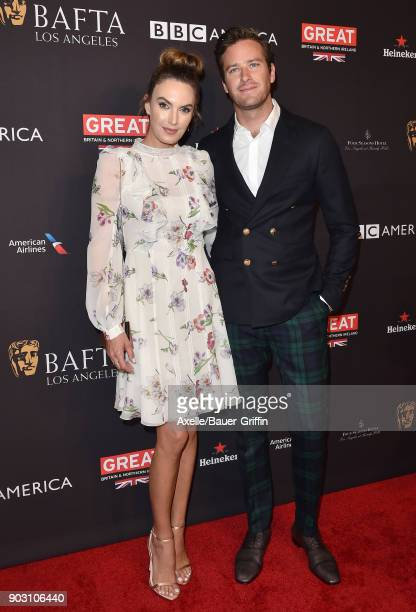Actor Armie Hammer and Elizabeth Chambers arrive at The BAFTA Los Angeles Tea Party at Four Seasons Hotel Los Angeles at Beverly Hills on January 6...