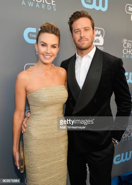 Actor Armie Hammer and Elizabeth Chambers attend The 23rd Annual Critics' Choice Awards at Barker Hangar on January 11 2018 in Santa Monica California