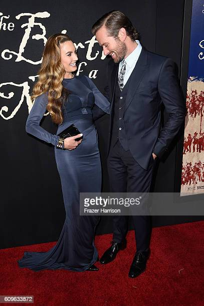 Actor Armie Hammer and Elizabeth Chambers attends the Premiere 0f Fox Searchlight Pictures' The Birth Of A Nation at ArcLight Cinemas Cinerama Dome...