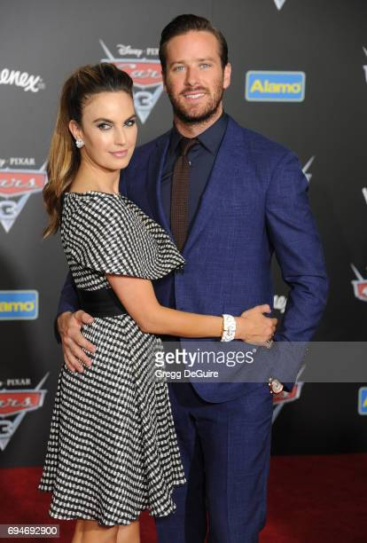 Actor Armie Hammer and Elizabeth Chambers Hammer arrive at the premiere of Disney And Pixar's 'Cars 3' at Anaheim Convention Center on June 10 2017...