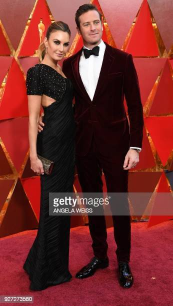 Actor Armie Hammer and his wife Elizabeth Chambers arrive for the 90th Annual Academy Awards on March 4 in Hollywood California / AFP PHOTO / ANGELA...
