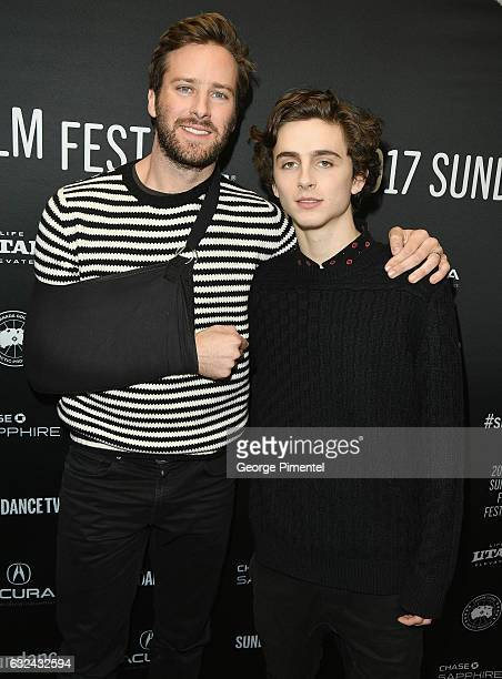 Actor Armie Hammer and Timothee Chalamet attend the 'Call Me By Your Name' Premiere on day 4 of the 2017 Sundance Film Festival at Eccles Center...