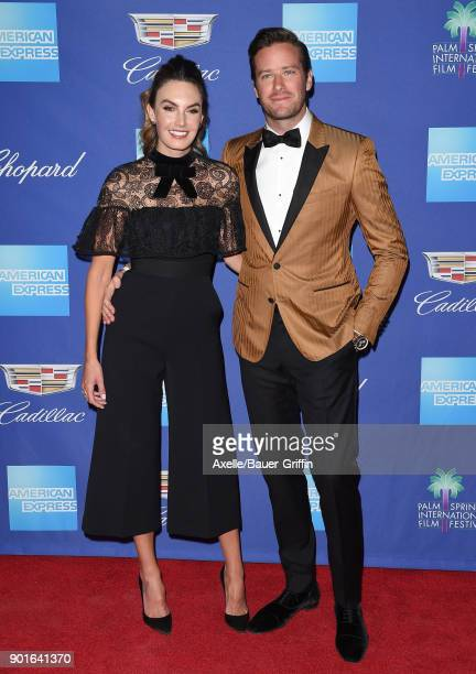 Actor Armie Hammer and wife Elizabeth Chambers attend the 29th Annual Palm Springs International Film Festival Awards Gala at Palm Springs Convention...