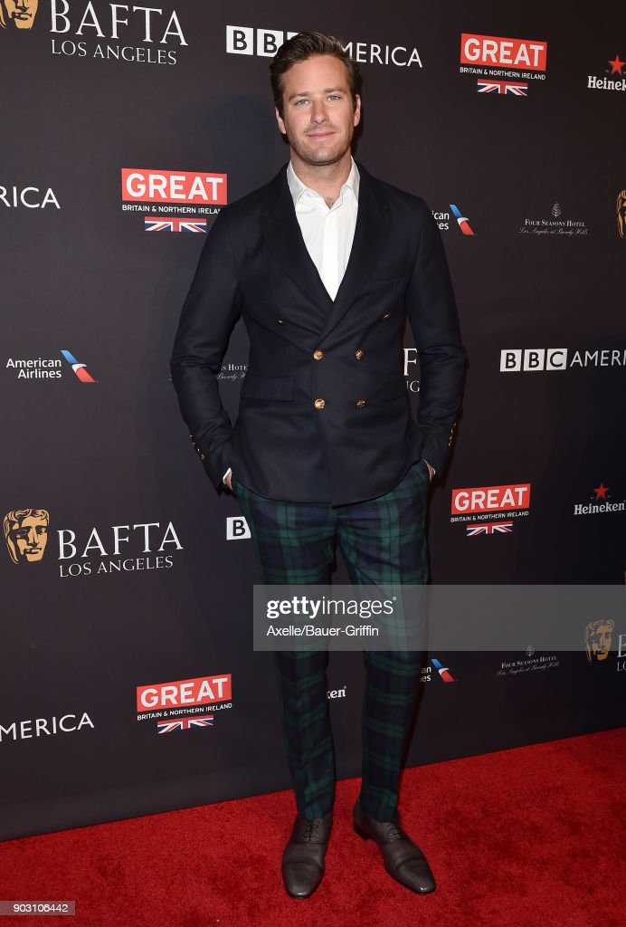 Actor Armie Hammer arrives at The BAFTA Los Angeles Tea Party at Four Seasons Hotel Los Angeles at Beverly Hills on January 6, 2018 in Los Angeles, California.