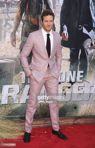 Actor Armie Hammer arrives at 'The Lone Ranger' World Premiere at Disney's California Adventure on June 22 2013 in Anaheim California