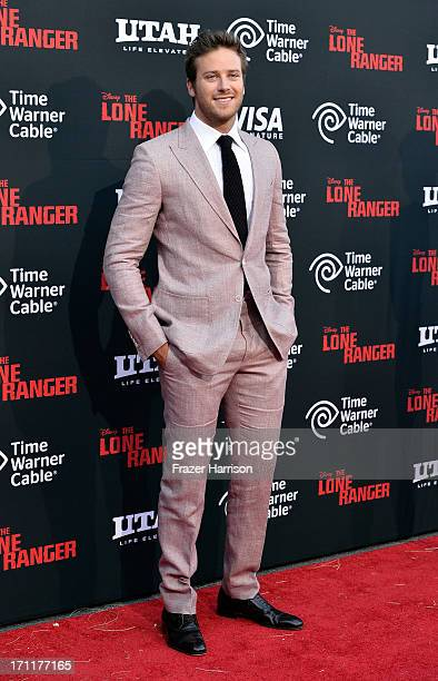 Actor Armie Hammer arrives at the premiere of Walt Disney Pictures' 'The Lone Ranger' at Disney California Adventure Park on June 22 2013 in Anaheim...