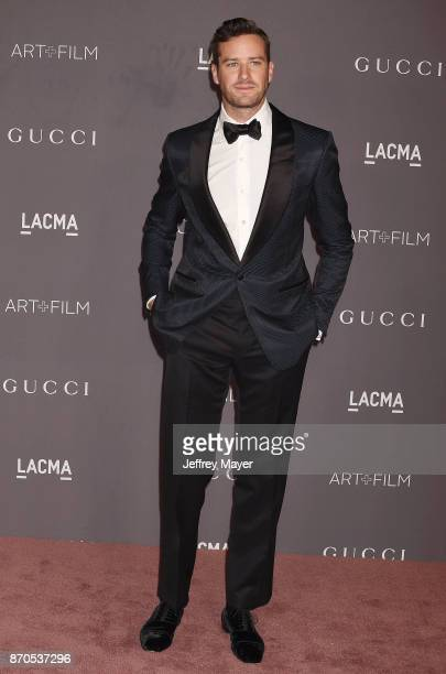 Actor Armie Hammer attends the 2017 LACMA Art Film Gala Honoring Mark Bradford and George Lucas presented by Gucci at LACMA on November 4 2017 in Los...