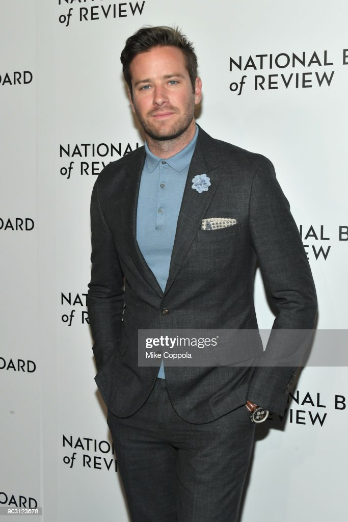 Actor Armie Hammer attends the 2018 The National Board Of Review Annual Awards Gala at Cipriani 42nd Street on January 9, 2018 in New York City.