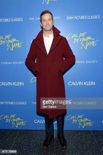 Actor Armie Hammer attends The Cinema Society screening of Sony Pictures Classics' 'Call Me By Your Name' at Museum of Modern Art on November 16 2017...
