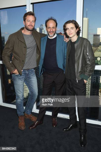 Actor Armie Hammer director Luca Guadagnino and actor Timothee Chalamet of 'Call Me By Your Name' attend The IMDb Studio Hosted By The Visa Infinite...