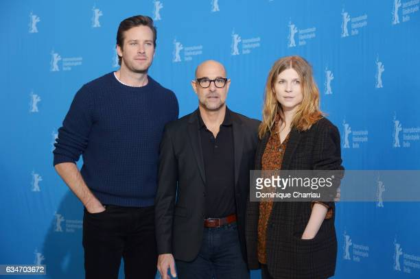 Actor Armie Hammer, director Stanley Tucci and actress Clemence Poesy attend the 'Final Portrait' photo call during the 67th Berlinale International...