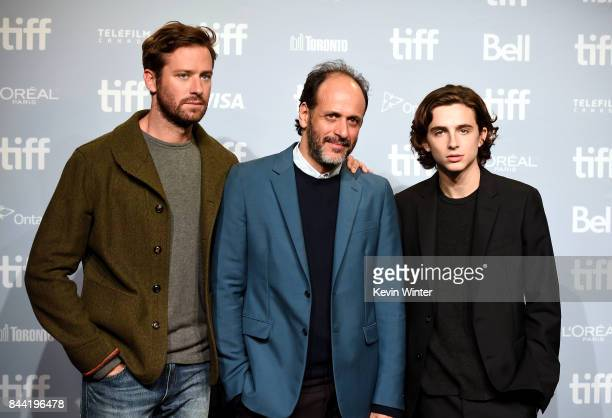 Actor Armie Hammer director/producer Luca Guadagnino and actor Timothee Chalamet attend the Call Me By Your Name press conference during 2017 Toronto...