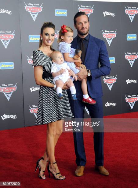 Actor Armie Hammer Elizabeth Chambers daughter Harper Hammer and son Ford Hammer attend the World Premiere of Disney and Pixar's 'Cars 3' at Anaheim...