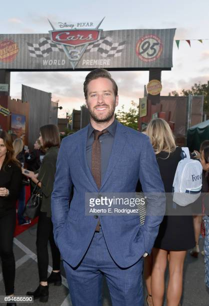 "Actor Armie Hammer poses at the after party for the World Premiere of Disney/Pixar's ""Cars 3"" at Cars Land at Disney California Adventure in Anaheim..."