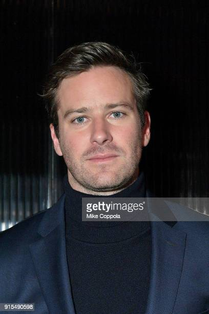 Actor Armie Hammer poses for a photo at BOSS Menswear Front Row at New York Fashion Week Mens' on February 7 2018 in New York City