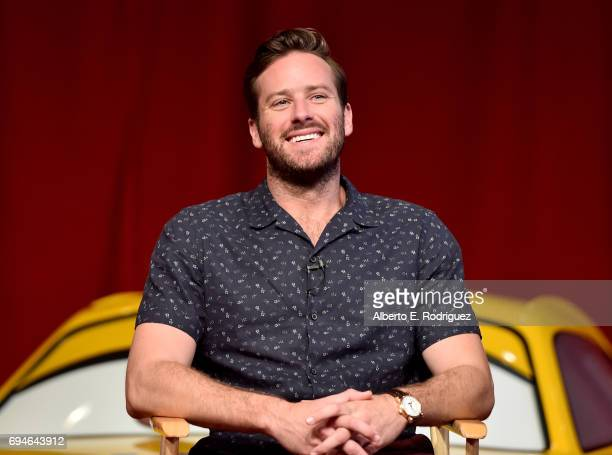 """Actor Armie Hammer speaks at the """"Cars 3"""" Press Conference at Anaheim Convention Center on June 10, 2017 in Anaheim, California."""