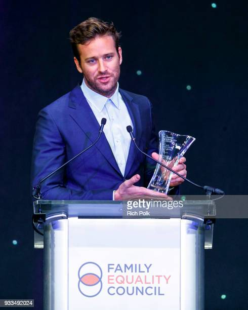 Actor Armie Hammer speaks on stage at the 'Family Equality Council's Impact Awards' at The Globe Theatre at Universal Studios on March 17 2018 in...