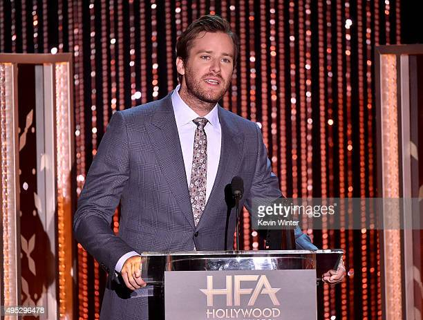 Actor Armie Hammer speaks onstage during the 19th Annual Hollywood Film Awards at The Beverly Hilton Hotel on November 1 2015 in Beverly Hills...