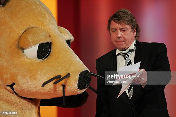 Actor Armin Rohde and an actor in a mouse costume are seen at the German Film Awards at the Palais am Funkturm May 12 2006 in Berlin Germany