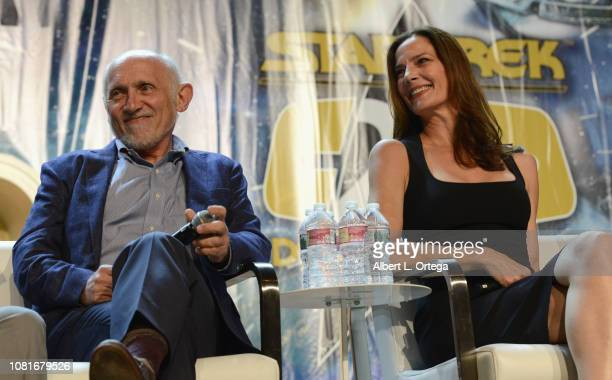Actor Armin Shimerman and actress Terry Farrell attend Day 4 of Creation Entertainment's 2018 Star Trek Convention Las Vegas at the Rio Hotel &...