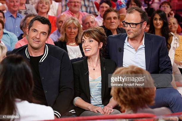 Actor Arnaud Ducret with Actors Alix Poisson and PierreFrancois MartinLaval who present the TV Series 'Disparue' attend the 'Vivement Dimanche'...