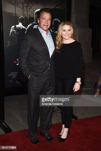 Actor Arnold Schwarzenegger and Heather Milligan arrive at the premiere of Warner Bros Pictures' 'The 1517 To Paris' at Warner Bros Studios on...