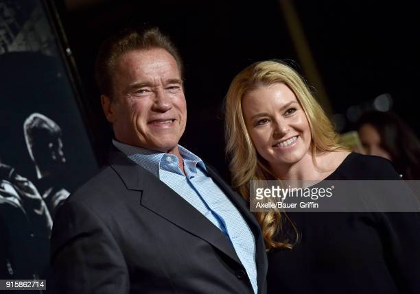 Actor Arnold Schwarzenegger and Heather Milligan attend the premiere of 'The 1517 To Paris' at Warner Bros Studios on February 5 2018 in Burbank...