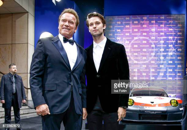 Actor Arnold Schwarzenegger and his son Patrick Schwarzenegger arrive for the GQ Men of the year Award 2017 at Komische Oper on November 9, 2017 in...