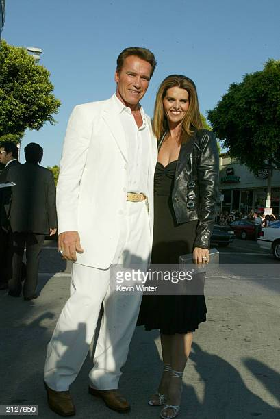 """Actor Arnold Schwarzenegger and Maria Shriver attend the world premiere of """"Terminator 3: Rise of the Machines"""" at the Mann VillageTheater June 30,..."""
